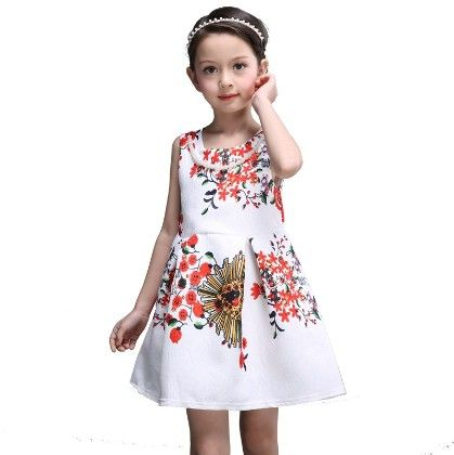 Cute White Dress With Red Flower Print - Mitun