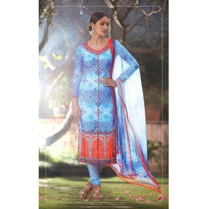 Blue Cotton Digital Print Dress Material - Afreen