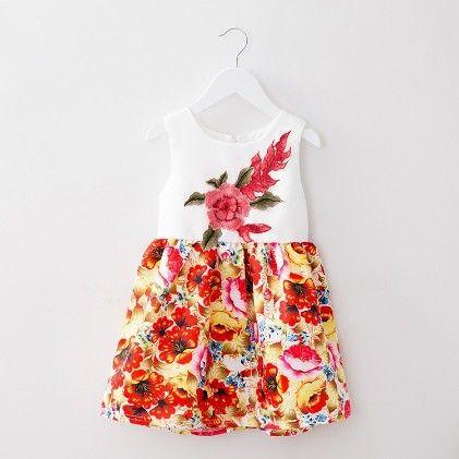 White Applique Dress - Petite Kids