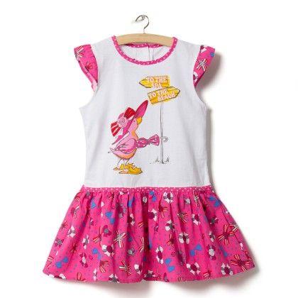 Pink Bird Print Dress - Little Princess