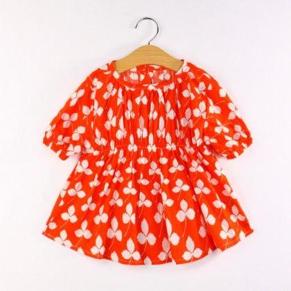 Red Leaf Print Tunic Dress - Jacarin