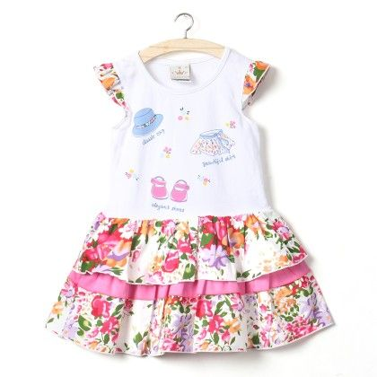 Pink Floral Print Cap Sleeves Dress - Little Princess