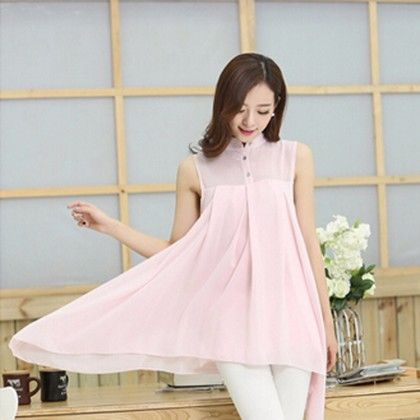 Pink Flared & Collared Top - STUPA FASHION