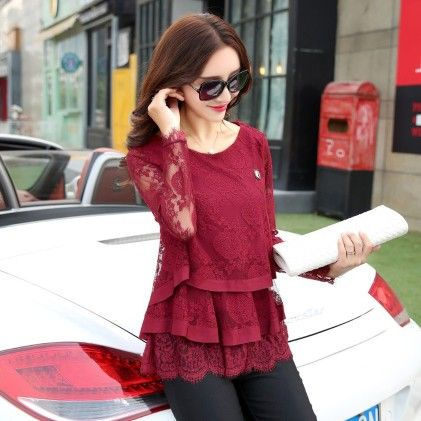 Ruffled Lace Shirt Women Long Sleeve Floral Lace Tops Red - STUPA FASHION