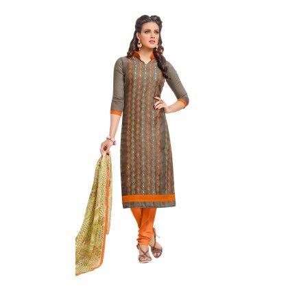 Brown & Orang Embroidered Dress Material With Matching Dupatta - Riti Riwaz