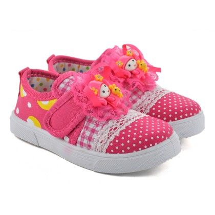 Pink Slip On Shoes With Doll Motif - Willy Winkies