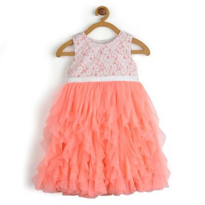 Water-fall Dress With White Lace Princess Dress - Toy Balloon Kids