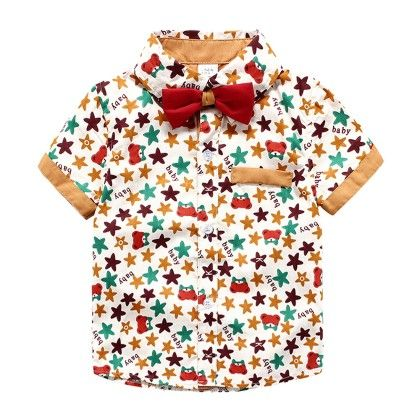 Star Printed Half Sleeves Shirt With Bow - Lil Mantra