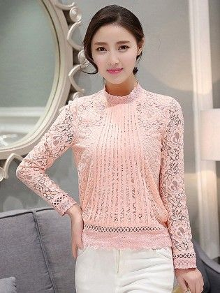 Pink Lace Full Sleeves Top - Mauve Collection