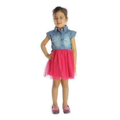 Denim & Pink Mesh Shirt Dress - My Lil'Berry