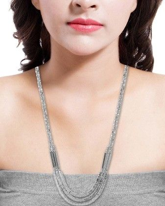 Voylla Alluring Long Beaded Necklace In Silver Tone