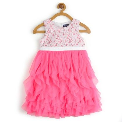 Water Fall Dress With White Lace Princess Dress - Toy Balloon Kids