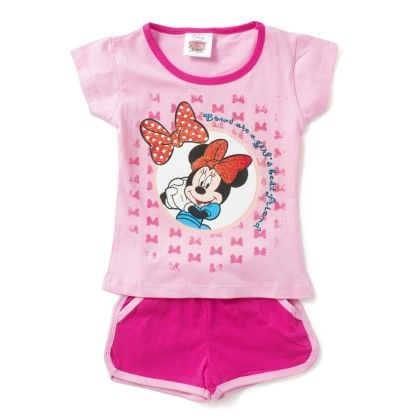 Pink Cartoon Print T-shirt & Short Set - Eteenz