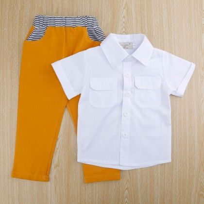 Trendy White Shirt And Brown Pant - Set Of 2 - SAMGAMI