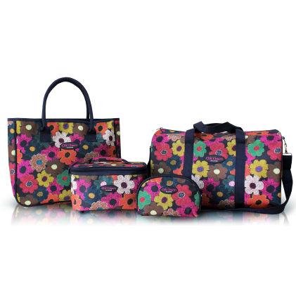 3 Piece Travel Bag-tote Bag And Cosmetic Bag Set - Jacki Design