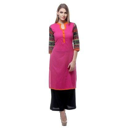 Fuschia Pink & Black Sleeve Printed & Plazzo - Riti Riwaz