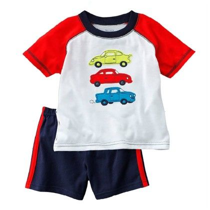 Car Print T-shirt And Shorts - 2 Pcs Set - Multi - Jumping Baby