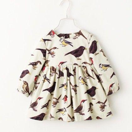 White Bird Print Dress - Jacarin