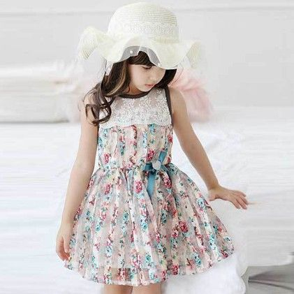 Cute Floral Print Dress With Lace Work - Blue - WREN AND BEAR