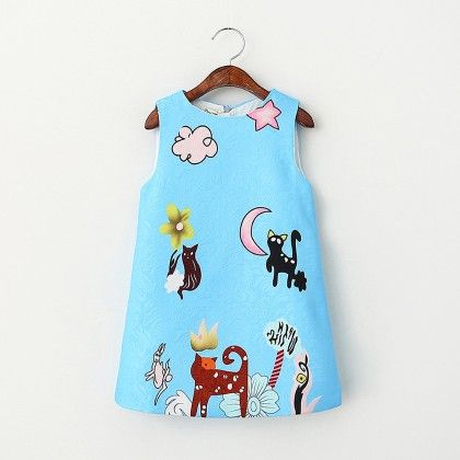 Blue Kitty Print Dress - Lil Mantra