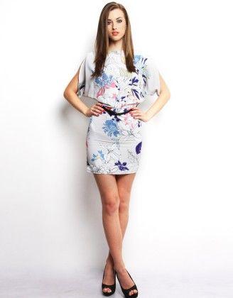 Floral Print Open Back Dress - XNY