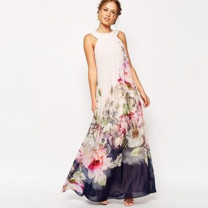 Floral Print Long Dress - Dell's World