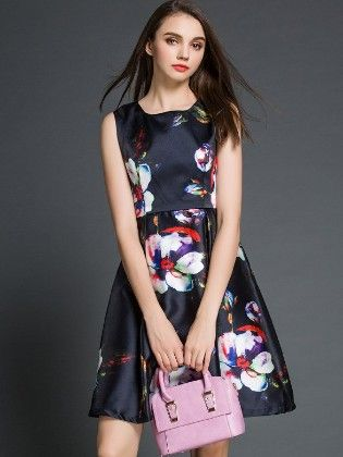 Flowers On Navy Spring Summer Dress - Mauve Collection