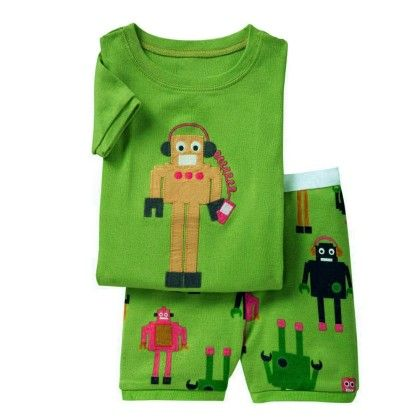Green Robot Print T-shirt & Short Set - Lil Mantra