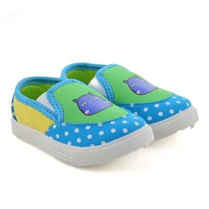 Blue And Green Slip On Shoes With Cat Print - Willy Winkies