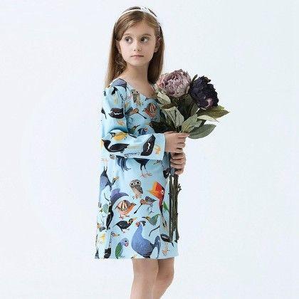 Beautiful Bird Print Long Sleeves Dress - Blue - Baby Kids