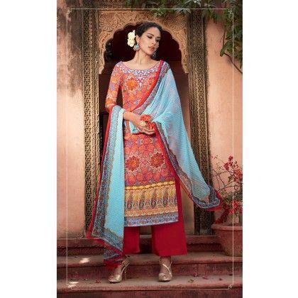 Red/blue Cotton Digital Print Dress Material - Afreen