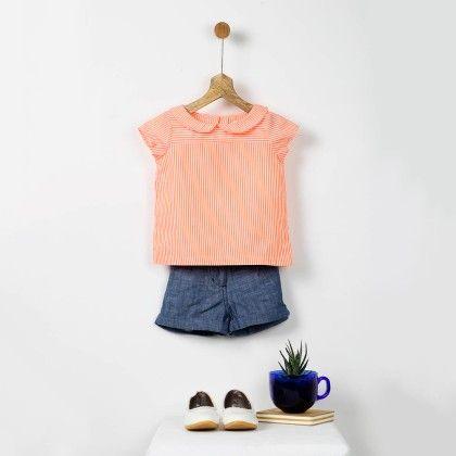 Orange & White Fine Cotton Striped Top - Pluie