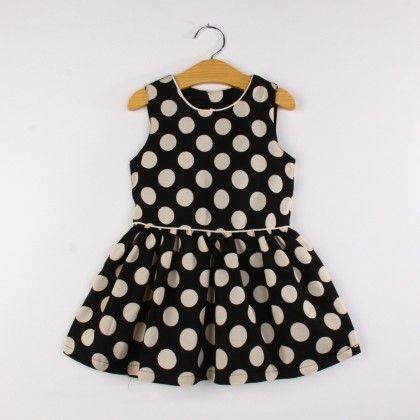 Black Polka Dotted Dress - Jacarin