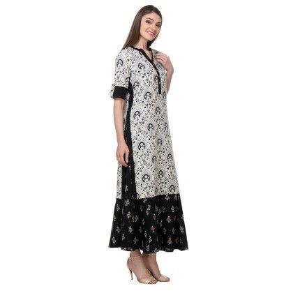 Off White & Black Printed Rayon Flex Stitched Kurti - Riti Riwaz