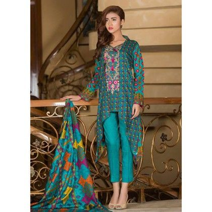 Embroidered Dress Material-sea Blue - Mauve Collection