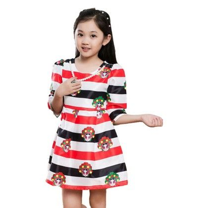 Peach Giirl Pop Up Red Stripe Dress - Red - White