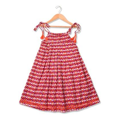 Owl Printed Orange Dress With Neon Tassel & Lace - Sequences Clothing