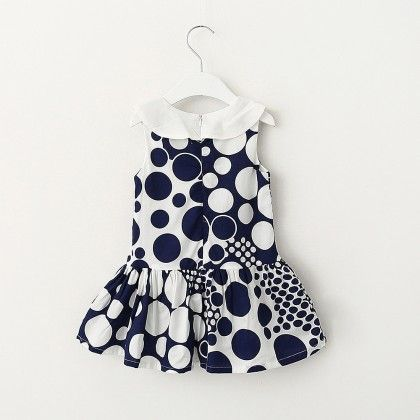 White And Navy Dot Print Dress - Lil Mantra