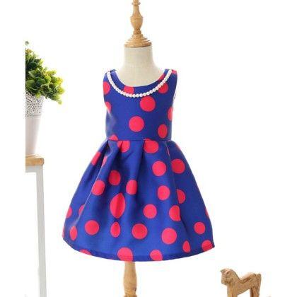Peach Giirl Polka Dot Dress - Blue - Red