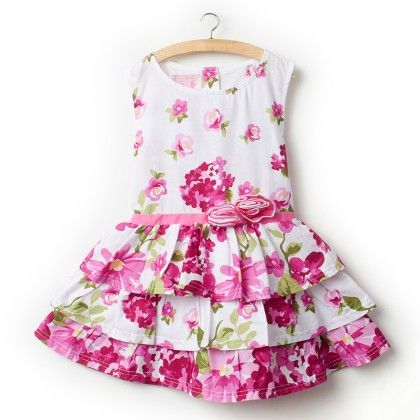 Purple Sleeveless Floral Print Dress - Little Princess