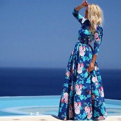 Floral Print Long Dress - Mauve Collection