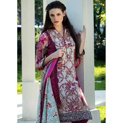 Cherry Red Printed Semistitched Dress Material - Mauve Collection