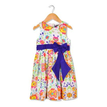 Neon Printed Girl Dress With Royal Blue Bow - Sequences Clothing