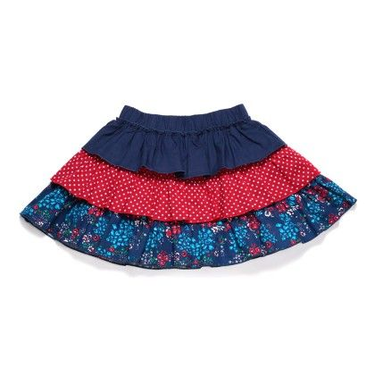 Girl's Navy Floral Print Tiered Skirt - Chica Boom