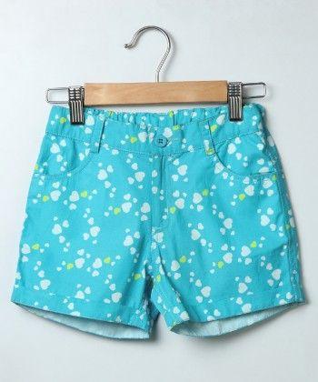 Sky Blue Heart Print Shorts - Beebay