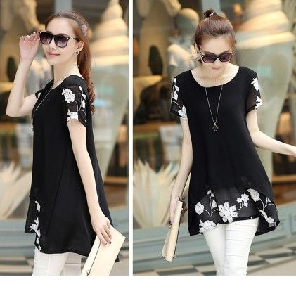 Women Blouse Summer Style Long Shirt Chiffon Black - STUPA FASHION