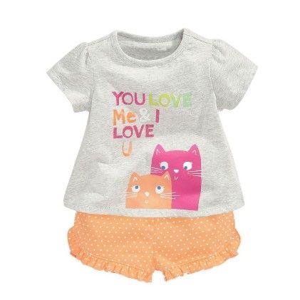 Love Cat Print T-shirt And Polka Dot Shorts - Set Of 2 - Gray - Jumping Baby