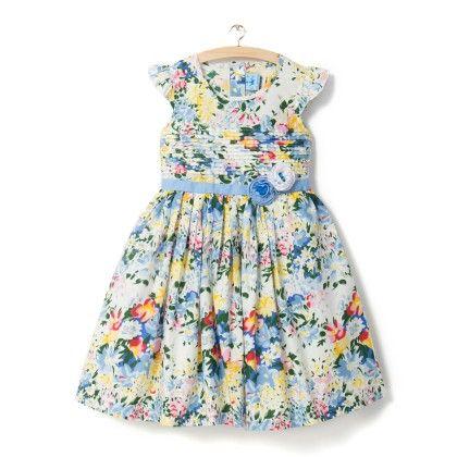 Allover Blue Floral Print Dress - Little Princess
