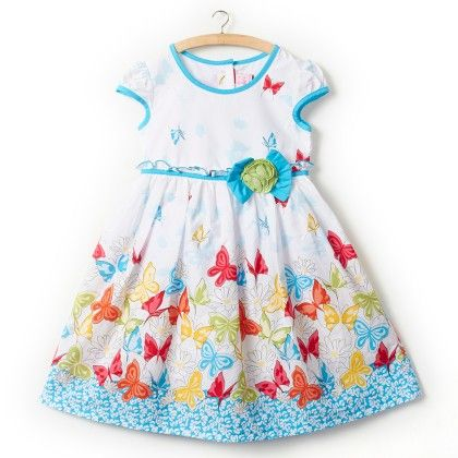 Blue And White Butterfly Print Dress - Little Princess