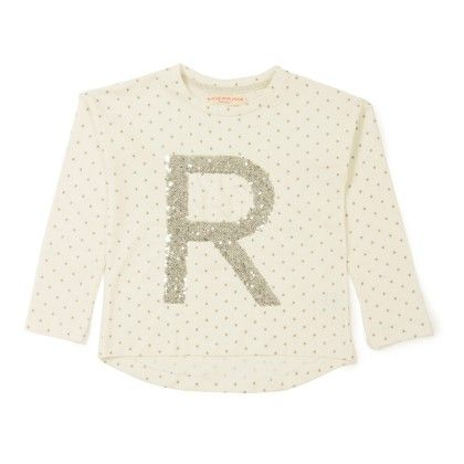 R With Polka Dot Printed Full Sleeves T-shirt - Raine & Jaine